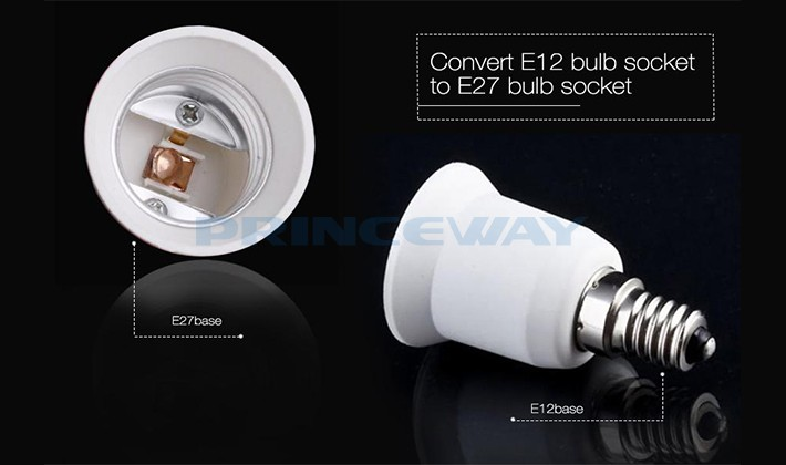 Standard E12 to E26/E27 lampholder convert adapter for chandelier lights