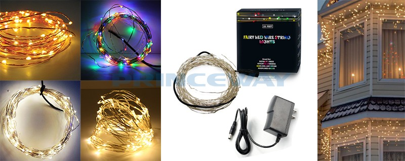 acdc powered 10m 33fts smd0603 100 leds christmas flexible copper wire light with floating stars decorative effect